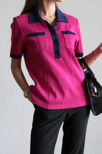 【vintage】Yves Saint Laurent / cut away collar bicolor compact knit tops