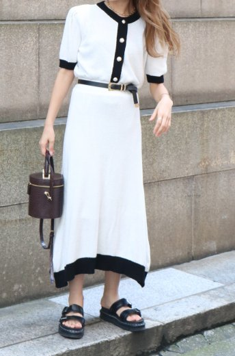 pearl button tops & trapeze skirt bicolor pile set up / white