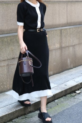 pearl button tops & trapeze skirt bicolor pile set up / black