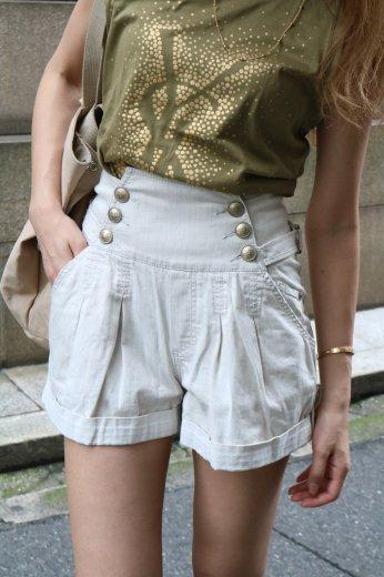 【vintage】KENZO / double button high waist cotton short pants