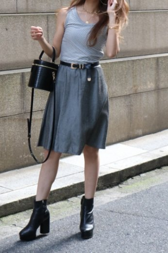 【vintage】FENDI / stripe sleeveless tops docking chambray flare dress