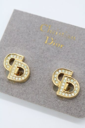 <img class='new_mark_img1' src='https://img.shop-pro.jp/img/new/icons14.gif' style='border:none;display:inline;margin:0px;padding:0px;width:auto;' />【vintage】Christian Dior / CD logo line stone earrings