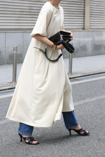 crew neck balloon sleeves cotton long dress / ivory