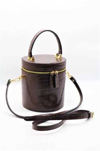 2way croco embossing cylindrical vanity bag / dark brown