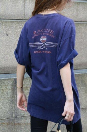 "【vintage】HARLEY-DAVIDSON / Racine HD ""100th anniversary"" limited big silhouette tee"