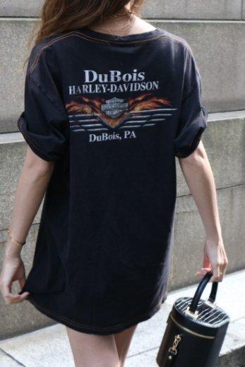 【vintage】HARLEY-DAVIDSON / Dubois Pennsylvania HD limited fire logo print tee