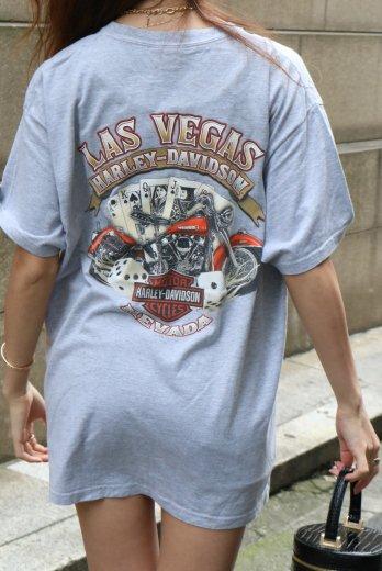 【vintage】HARLEY-DAVIDSON / Las Vegas  HD limited casino motif print big silhouette tee
