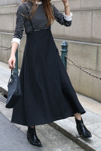 2way linen mix salopette skirt  / black