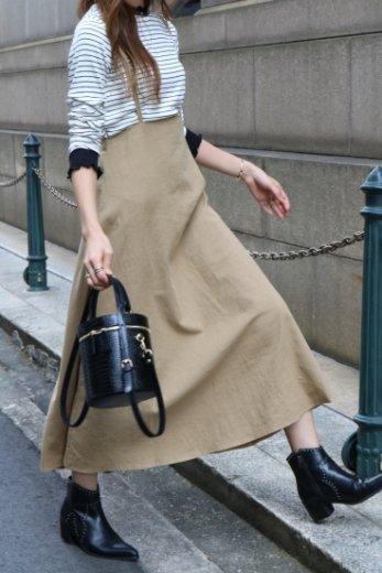 2way linen mix salopette skirt  / beige
