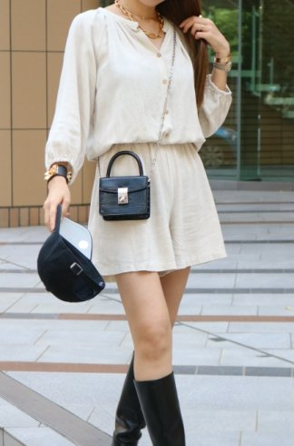 open stand collar linen mix rompers / beige