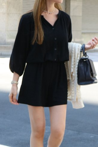 open stand collar linen mix rompers / black