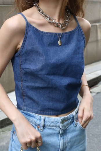 【vintage】FENDI / horizon neck side logo tape compact denim camisole