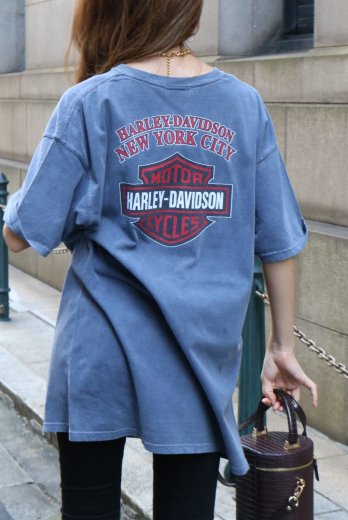 【vintage】HARLEY-DAVIDSON / New York HD limited trademark big silhouette tee