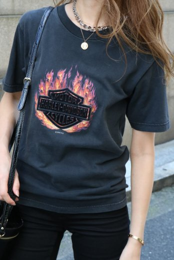 【vintage】HARLEY-DAVIDSON / PikeVillege-Kentucky HD limited flocky 3D logo print tee
