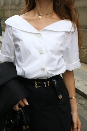 cut away collar front diagonally button blouse