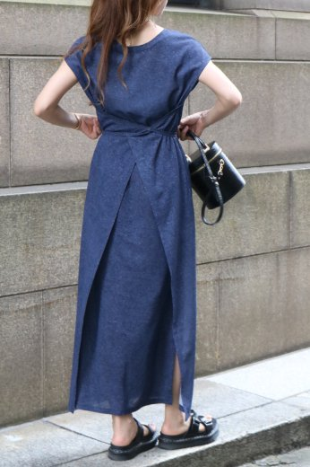 2way french sleeves linen wrap dress / navy