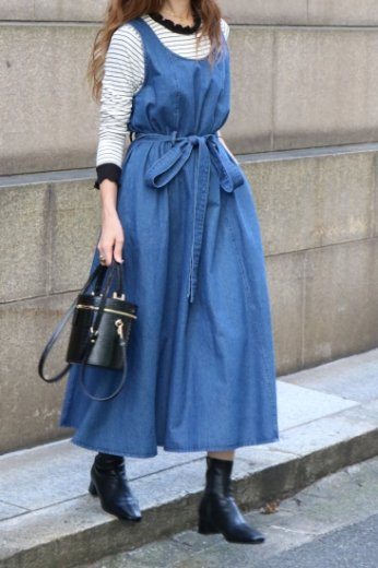 U neck sleeveless denim flare dress (belt ribbon set)