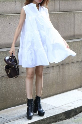 stand collar tiered tunic dress / white