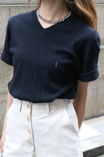 【vintage】Yves Saint Laurent / V neck YSL cassandra logo embroidery tops
