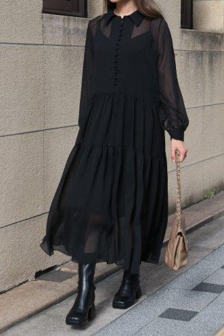 front loop button tiered chiffon dress (petticoat set) / black