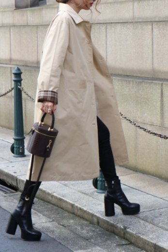 <img class='new_mark_img1' src='https://img.shop-pro.jp/img/new/icons14.gif' style='border:none;display:inline;margin:0px;padding:0px;width:auto;' />cut away collar check pattern cuffs long coat / beige
