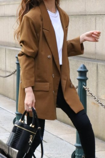<img class='new_mark_img1' src='https://img.shop-pro.jp/img/new/icons14.gif' style='border:none;display:inline;margin:0px;padding:0px;width:auto;' />notched lapel collar double button jacket / brown