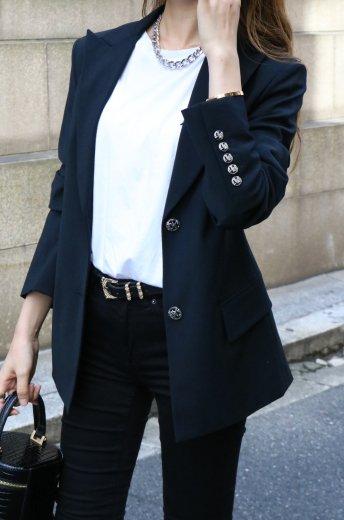 【vintage】VERSACE / peaked lapel collar silver logo button tailored jacket