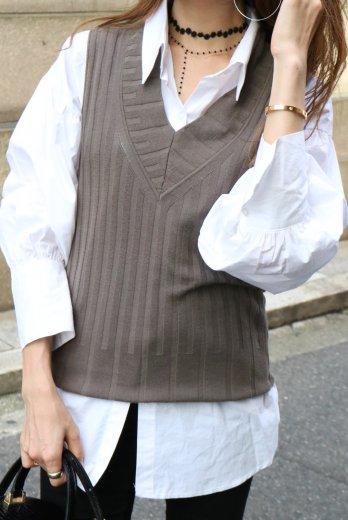 【vintage】FENDI / V neck rib vest