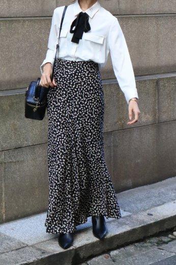 leopard mermaid skirt / black