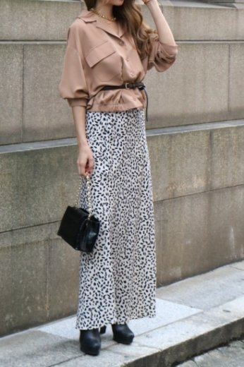 leopard mermaid skirt / beige