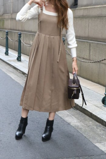 back shirring switch pleats jumper skirt