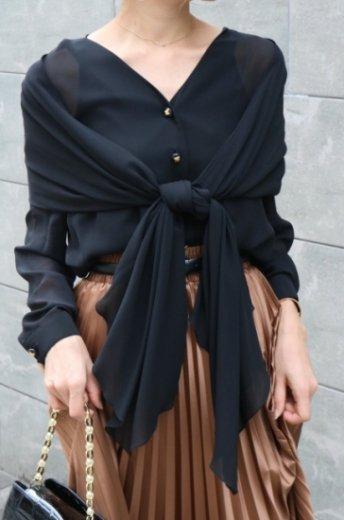 【vintage】CELINE / macadom button shawl docking silk blouse