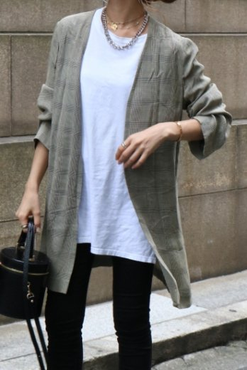 【vintage】Yves Saint Laurent / glen check no collar gown jacket