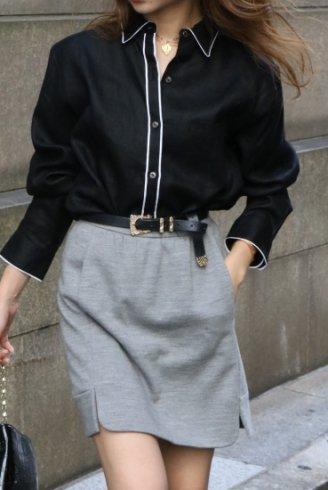【vintage】RALPH LAUREN / short pointed collar logo embroidery piping design black linen shirt