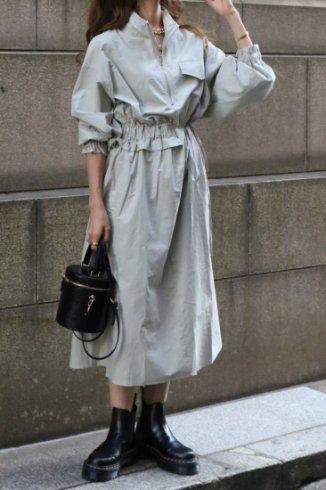 high neck zip up asymmetry dress / mint gray