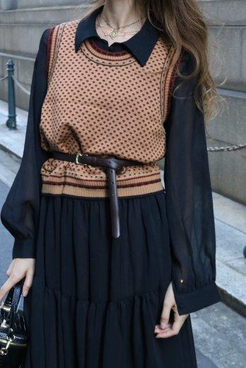 【vintage】CELINE / round neck patterned all over knit vest