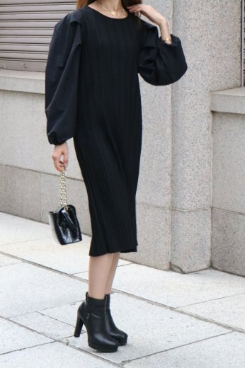 nylon sleeves docking pleats dress / black