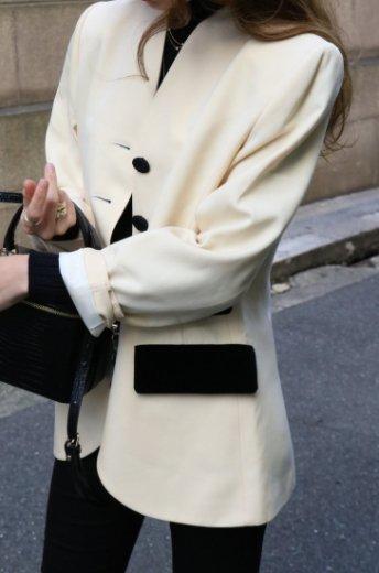 【vintage】Yves Saint Laurent / velours no collar jacket