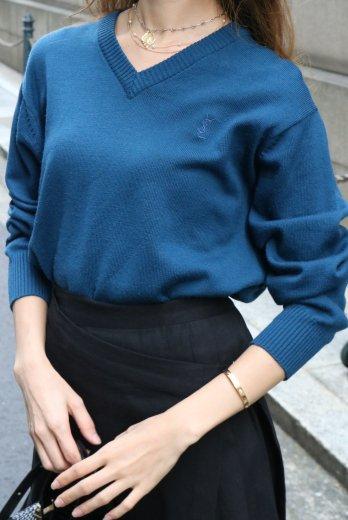 【vintage】Yves Saint Laurent / V neck wool neck knit tops