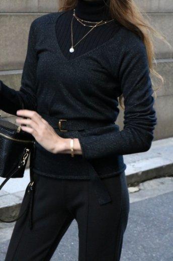 【vintage】GUCCI / U neck glitter cashmere knit tops (belt ribbon set)