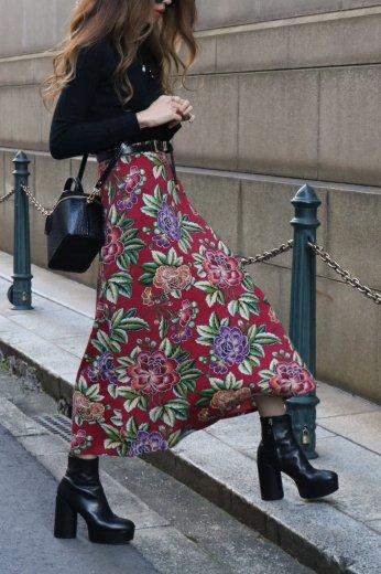 【vintage】KENZO / waist gather floral flare long skirt
