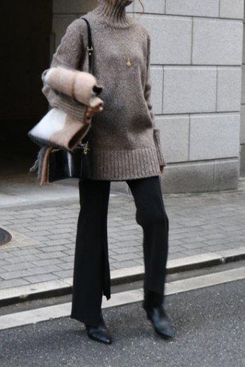 turtle neck melange wool knit tops / brown