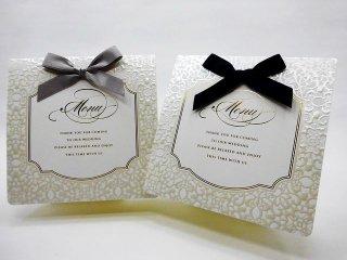 結婚披露宴 メニュー表 手作り用紙キット べリンダ(ネイビー・グレー)