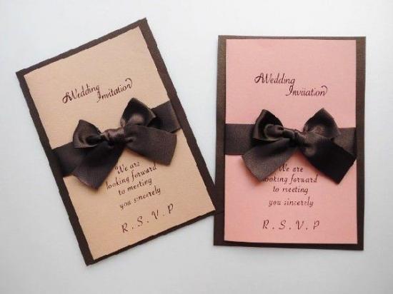 結婚式 招待状 手作り用紙キット スイート(ブラウン・ピンク)