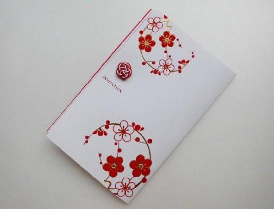 結婚式 招待状 手作り用紙キット 朱玉 (和婚向け)