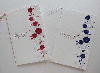 結婚披露宴 メニュー表 手作り用紙キット ノーブルローズ(ブルー・レッド)