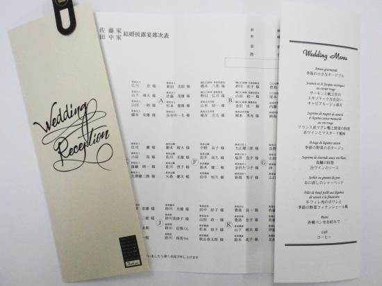 結婚披露宴 メニュー表付席次表 印刷込み 80セット(お好きな印刷