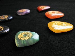 【再入荷!】7チャクラストーンセット(7チャクラシンボル付き)ハート型・天然石