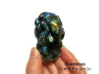 【1点もの!ラブラドライト3】天然石彫刻置物・スタチュー・インドの神様・商売繁盛・学問の神様・パワーストーン