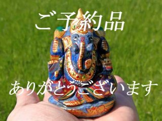 【T様ご予約品・1点もの!期間限定 送料無料!ガネーシャ神像・ラピスラズリ6】天然石彫刻置物・スタチュー・インドの神様・商売繁盛・学問の神様・パワーストーン